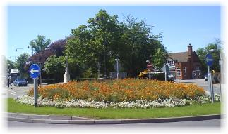 Roundabout in bloom near Letchworth station